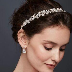 NWT David's Bridal Formal Headband Silver Pearl